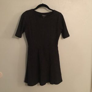 Lulu's Charcoal Short Sleeve Sweater Dress